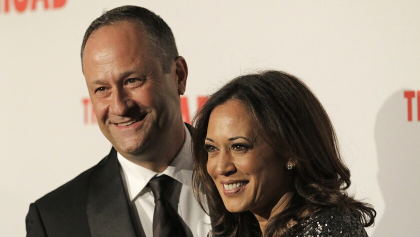 Kamala Harris with husband Douglas Emhoff on the red carpet at the Broad museum's opening gala in 2015.