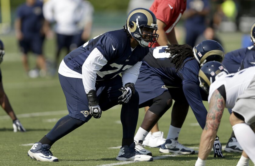 St. Louis Rams tackle Joe Barksdale takes up his position during training camp
