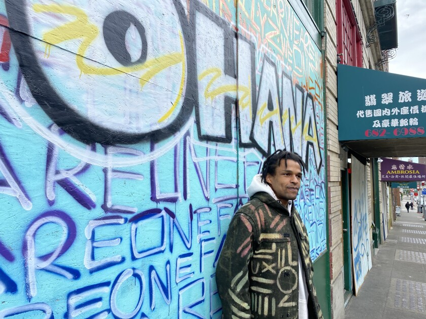 Procter painted his first mural on boards covering a Hawaiian restaurant in Seattle's Chinatown International District.