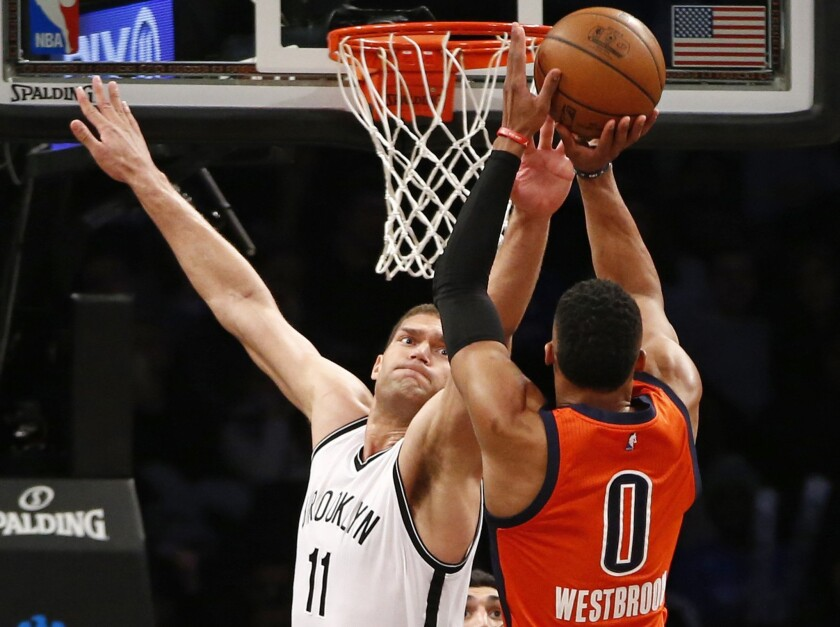 Brook Lopez and Nets snap Thunder's seven-game winning streak with 116-106 victory