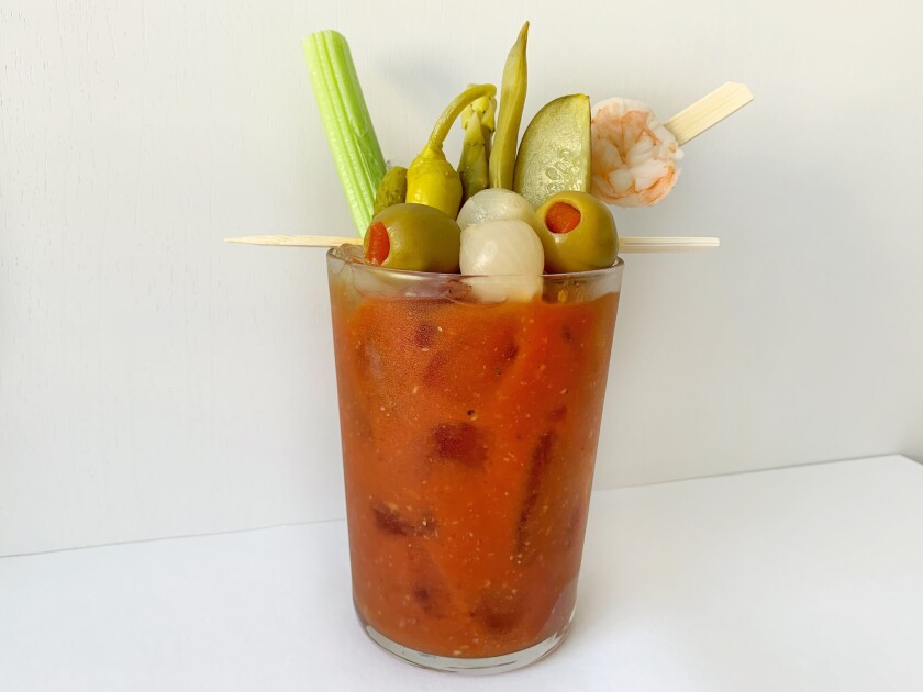 The classic brunch cocktail is best enjoyed on its own, with lots of pickled garnishes to snack on while you drink.