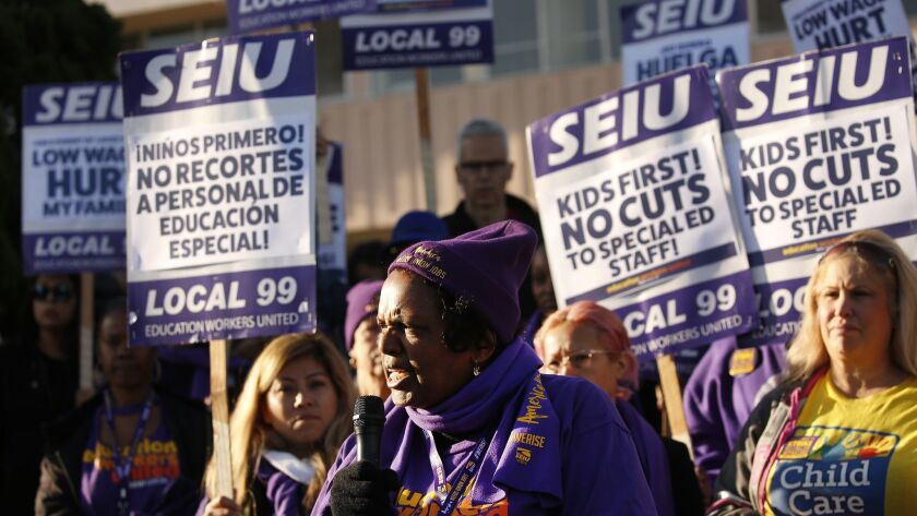 LOS ANGELES, CA – FEBRUARY 26, 2018: LAUSD School Custodian Edna Logan, joins school workers at Lo