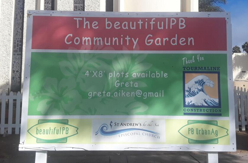The recently installed PB Garden Sign says 4- by 8-foot planter boxes are still available by contacting greta.aiken@gmail.com