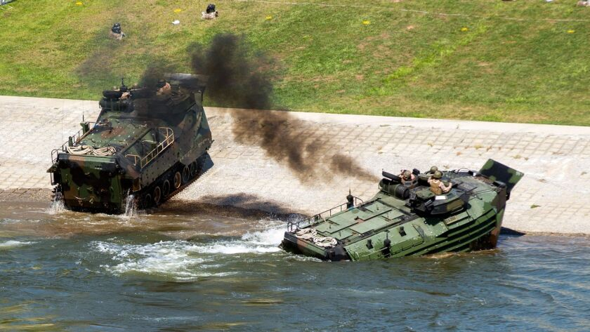 This Sept. 6, 2016, photo released by the U.S. Marine Corps shows Marines with the 2nd Amphibious As