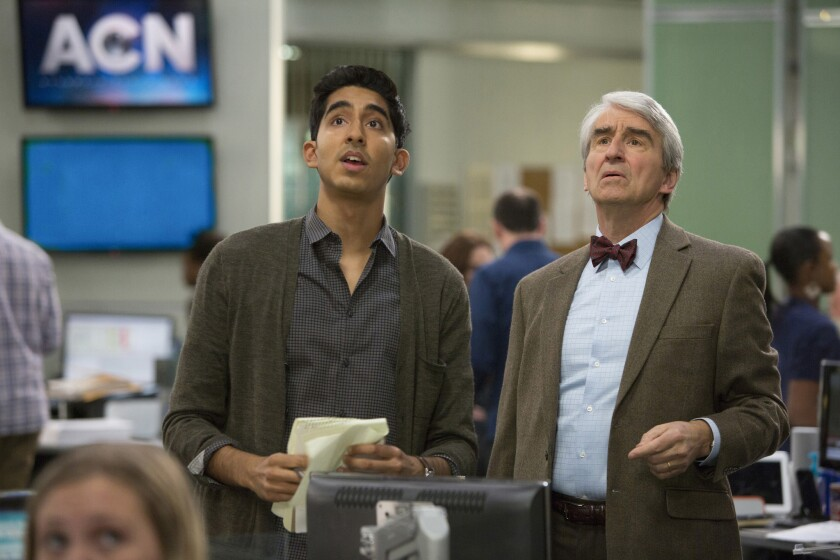 """Dev Patel, left, as Neal Sampat and Sam Waterston as Charlie Skinner in an episode of """"The Newsroom."""""""
