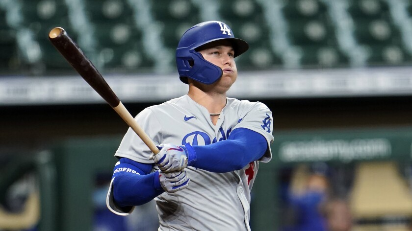 Dodgers outfielder Joc Pederson hits against the Houston Astros in July.