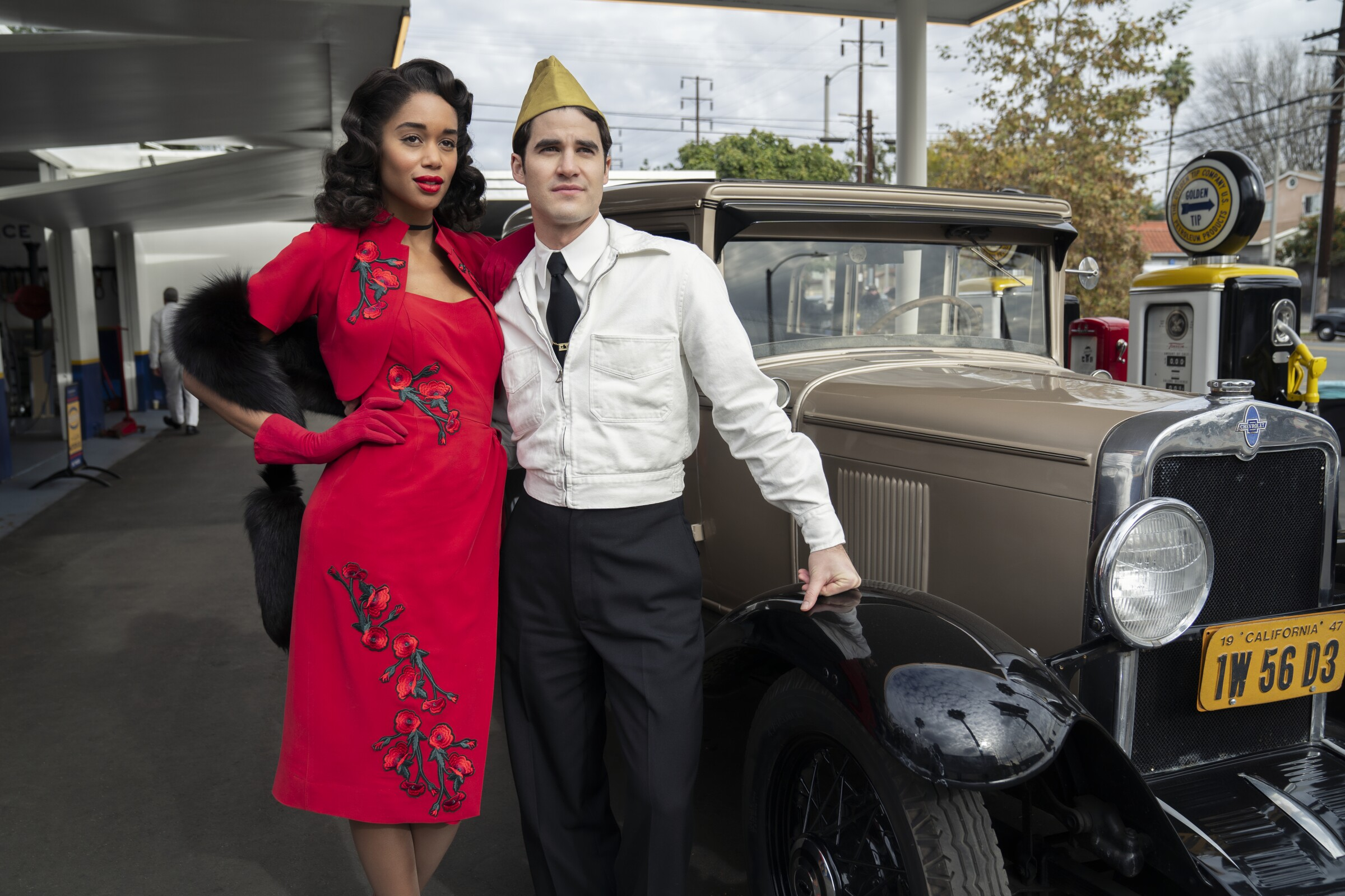 "Laura Harrier and Darren Criss are among the actors in ""Hollywood,"" filled with fact-based and fictional characters."