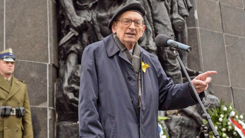 Wladyslaw Bartoszewski speaking during the observance of the 72nd anniversary of the Warsaw Ghetto uprising on April 19.