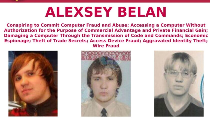 "An FBI ""most wanted"" poster shows images of Russian citizen Alexsey Belan, who U.S. prosecutors say leveraged access in Yahoo's computer networks to enrich himself through several schemes."
