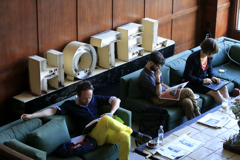 The lobby of the Ace Hotel in downtown Portland, Ore., on June 30, 2013.
