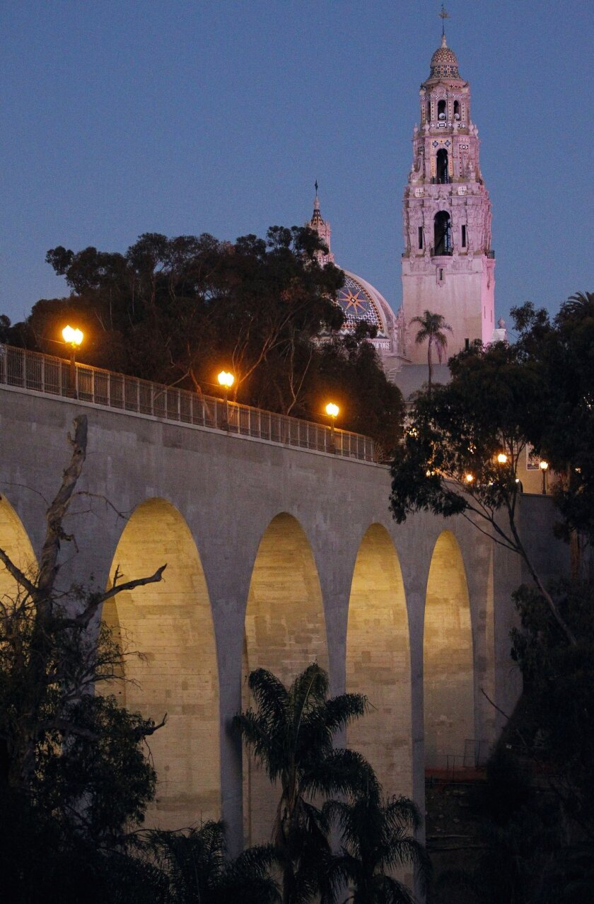 The arches of the Cabrillo Bridge, which span over Highway 163 to Balboa Park.