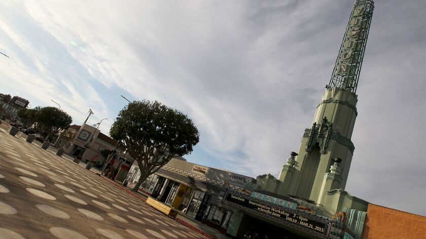 LOS ANGELES, CALIF. - MAR. 16, 2015. The brown polka-dot plaza in Leimert Park. (Luis Sinco/Los Ang
