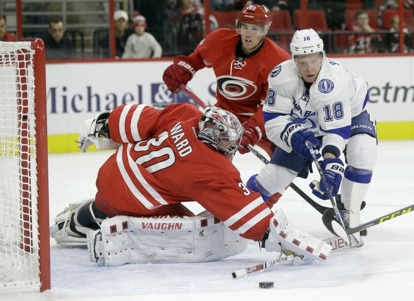 Carolina Hurricanes goalie Cam Ward (30) defends against Tampa Bay Lightning's Ondrej Palat, of the Czech Republic, during the second period of an NHL hockey game in Raleigh, N.C., Sunday, Nov. 1, 2015. (AP Photo/Gerry Broome)