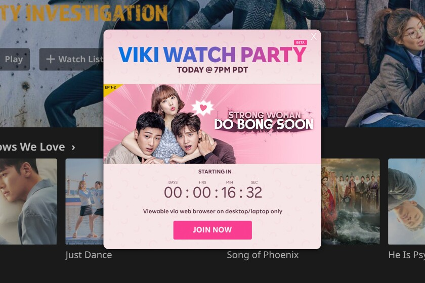 """A screen grab shows a watch party ad for the Korean show """"Strong Woman Do Bong Soon."""""""