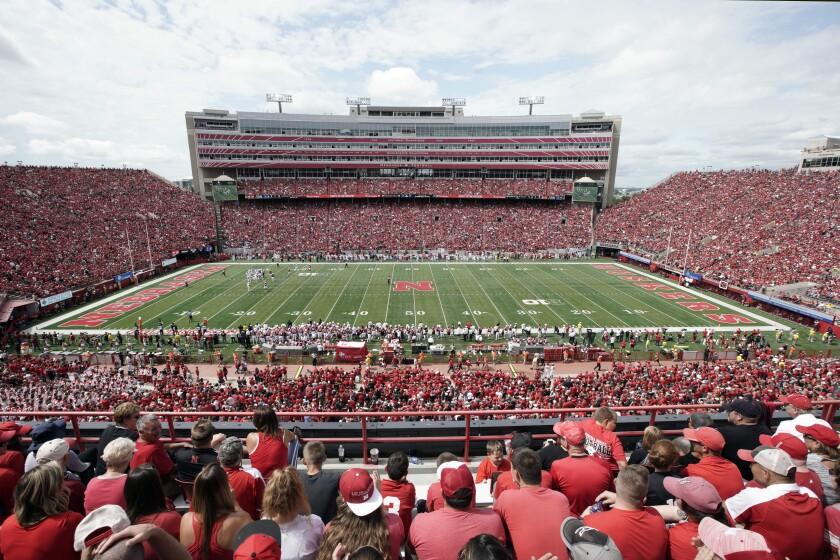 Nebraska fans fill General Memorial Stadium in Lincoln, Neb.