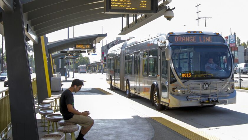 A Metro Orange Line bus at the North Hollywood station.