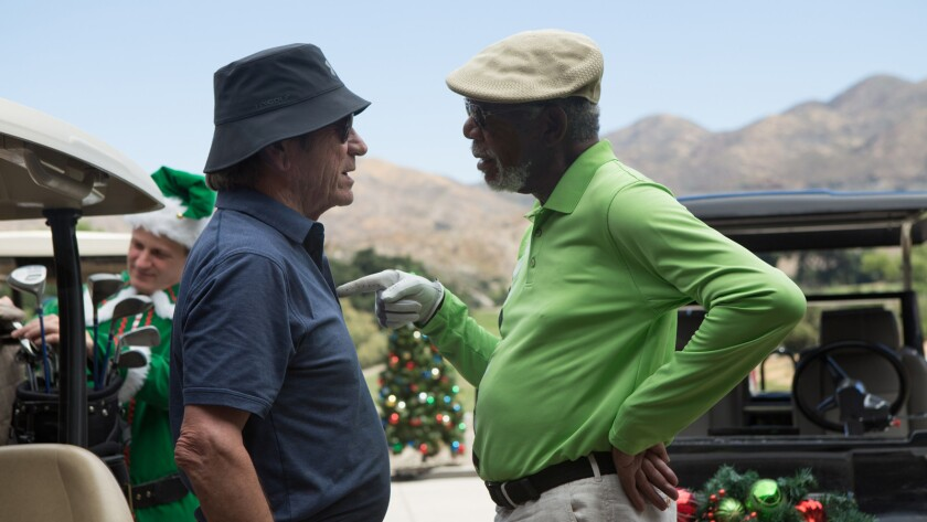 """(L-R) - Tommy Lee Jones stars as 'Leo' and Morgan Freeman as 'Duke' in the movie """"JUST GETTING START"""