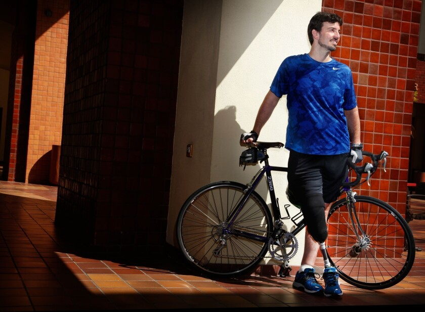 Damian Kevitt lost part of his leg while riding his bicycle. He was hit by a van and dragged for 600 feet under the vehicle, which took off.