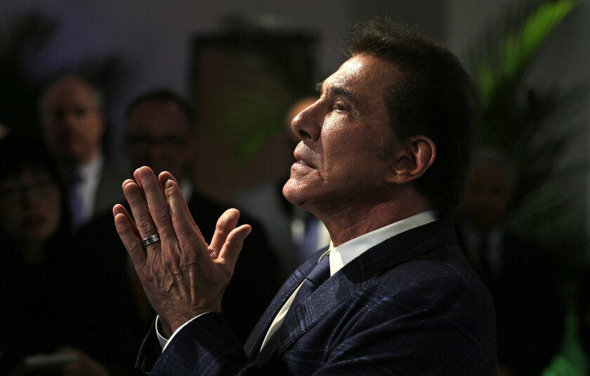 Steve Wynn holds his hands together
