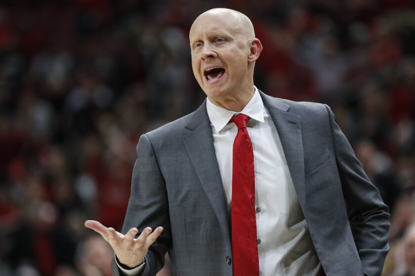 Louisville head coach Chris Mack reacts to a call during the second half of the team's NCAA college basketball game against Wake Forest on Wednesday, Feb. 5, 2020, in Louisville, Ky. Louisville won 86-76. (AP Photo/Wade Payne)