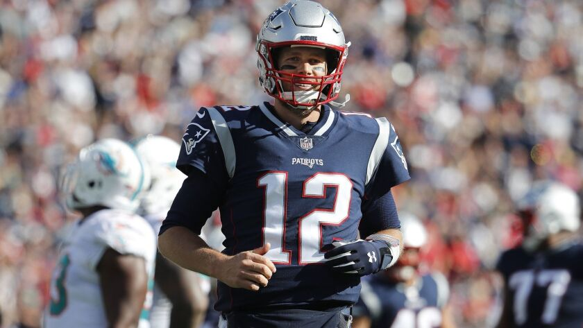 New England Patriots quarterback Tom Brady during a game against the Miami Dolphins at Gillette Stadium on Sunday, Sept. 30, 2018 in Foxborough, Mass.