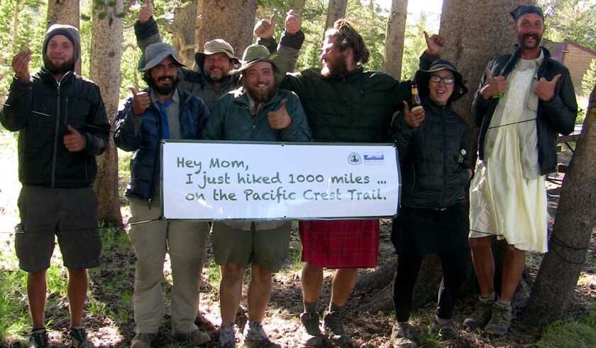 Hikers celebrate