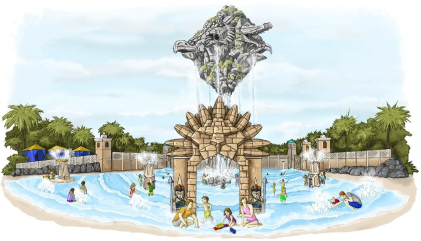 Newly released rendering depicts Lion Temple Wave Pool, with its 40-foot-tall Mt. Cavora towering over the water below.