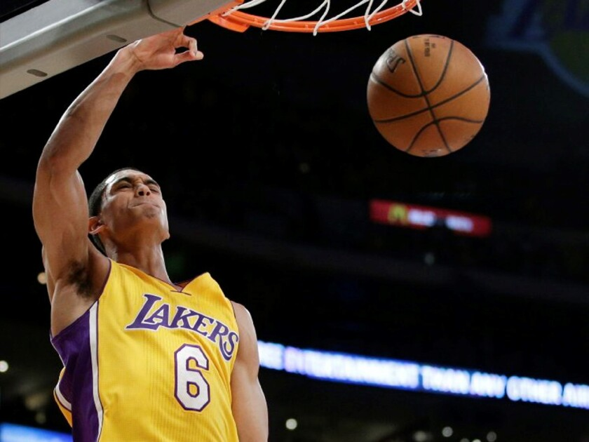 Lakers point guard Jordan Clarkson slams home two of his 13 points in the first half.