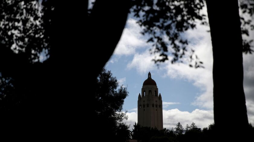 A view of Hoover Tower on the Stanford University campus in Stanford, California on March 12.