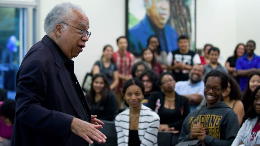 Dr. Joseph L. White speaks to students at UC Irvine in 2013.