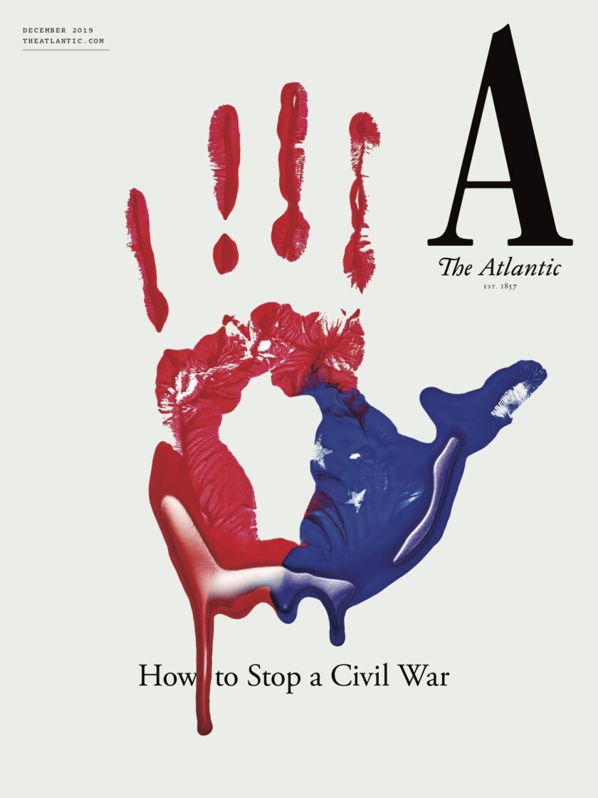 "This cover image released by The Atlantic shows their December issue ""How to Stop a Civil War."" The issue heads to newsstands and its articles will be posted online Tuesday. (The Atlantic via AP)"