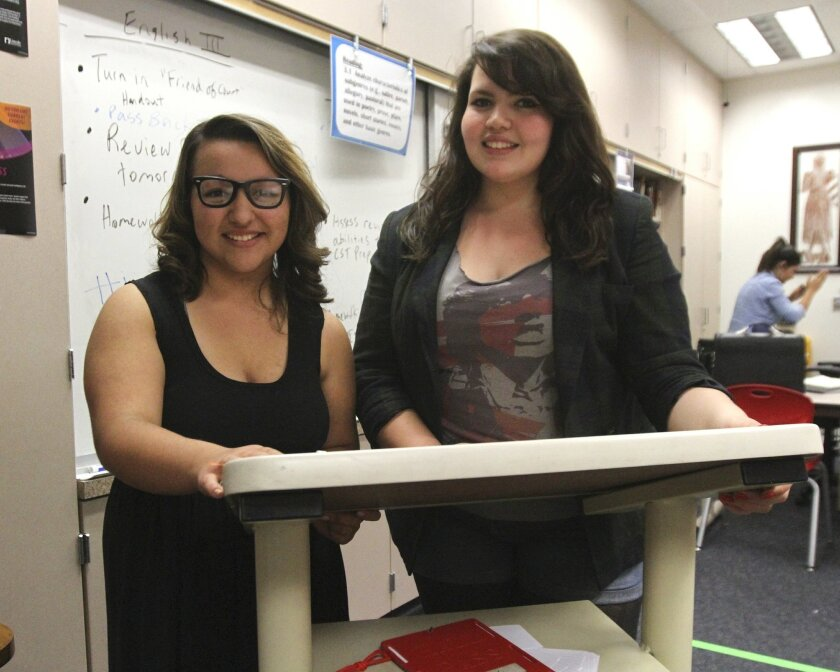 Heritage High School freshman Candace Rosado, left, will compete in the humorous interpretation competition in the National Forensic League's national tournament in June in Birmingham, Ala. Junior Emerita Walther, right, is an alternate in the competition.