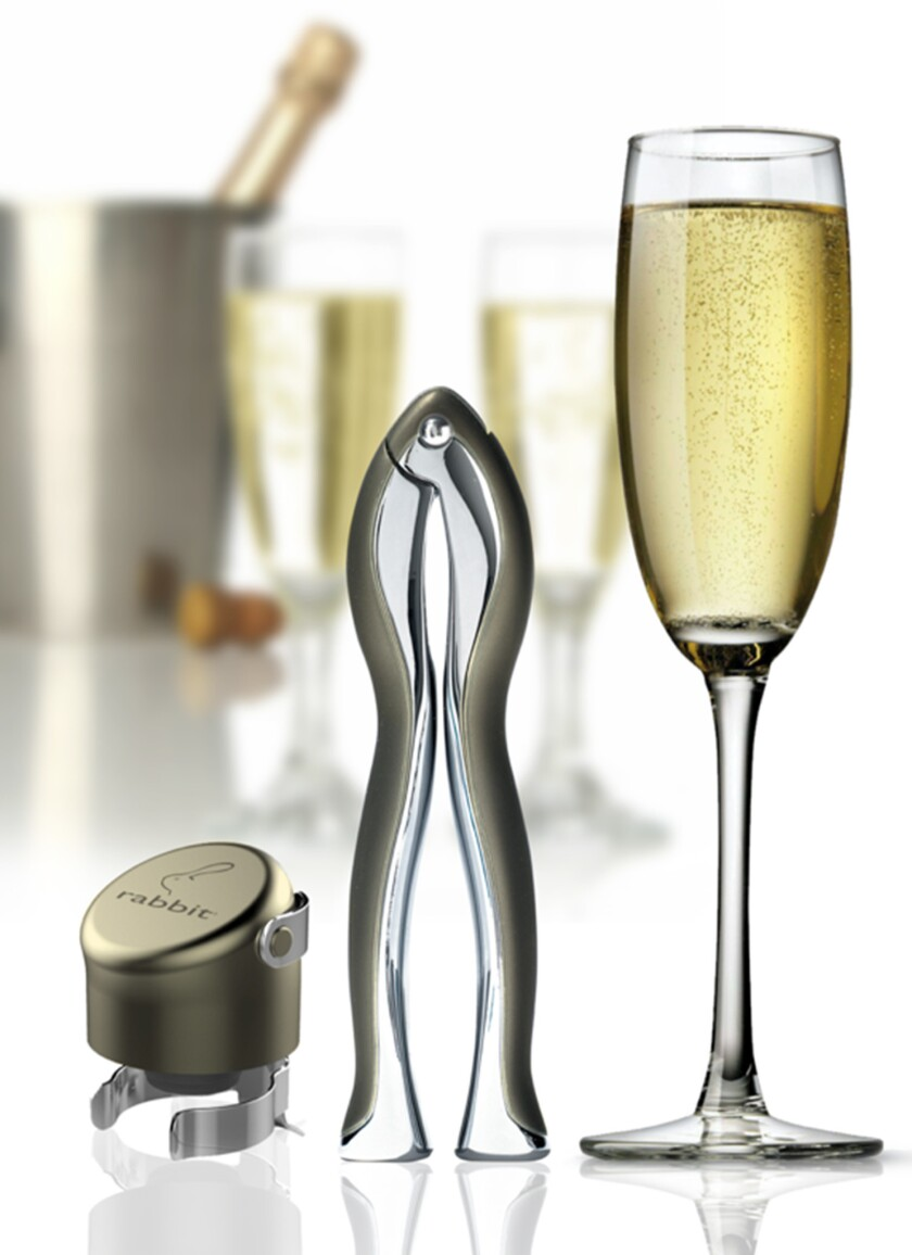 Rabbit's Velvet Champagne Set takes the worry out of getting to your bubbly.