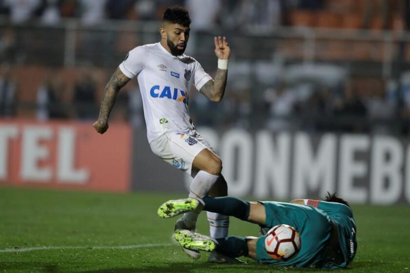 En la imagen, el jugador Gabriel Barbosa (i) de Santos. EFE/Archivo