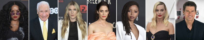 This combination photo of celebrities with birthdays from June 27-July 3 shows H.E.R, from left, Mel Brooks, Lily Rabe, Lizzy Caplan, Chloe Bailey, Margot Robbie and Tom Cruise. (AP Photo)
