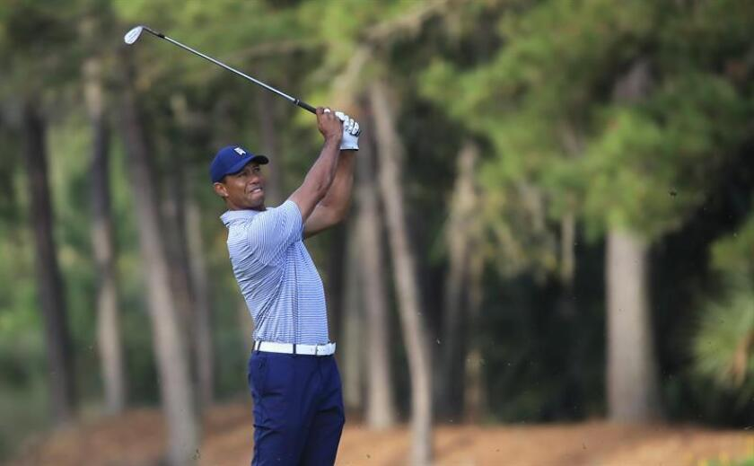 Tiger Woods of the United States hits from the fairway on the 10th hole during the second round of THE PLAYERS Championship golf tournament at the Stadium Course at TPC Sawgrass in Ponte Vedra Beach, Florida, USA, on March 15, 2019. EPA-EFE/TANNEN MAURY