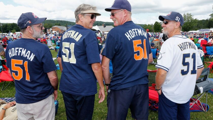 Fans show their support for inductee Trevor Hoffman prior to the Baseball Hall of Fame induction ceremony on July 29, 2018 in Cooperstown, New York.