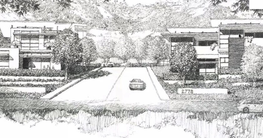 A black and white rendering of the proposed development on Via De La Valle.