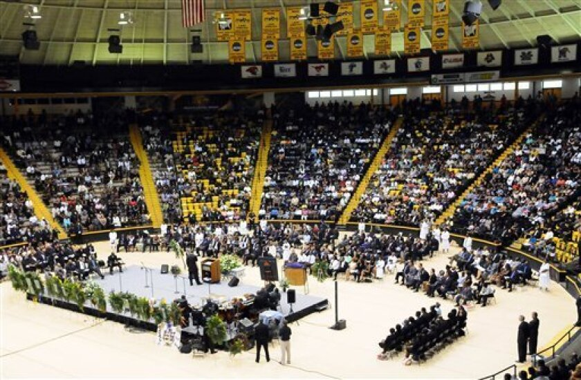 The funeral service for Steve McNair is held in Reed Green Coliseum at The University of Southern Mississippi in Hattiesburg, Miss., Saturday, July 11, 2009. McNair, a former NFL quarterback with the Houston Oilers, Tennessee Titans, and Baltimore Ravens, was shot to death in Nashville on July 4. (AP Photo/George Clark, Pool)