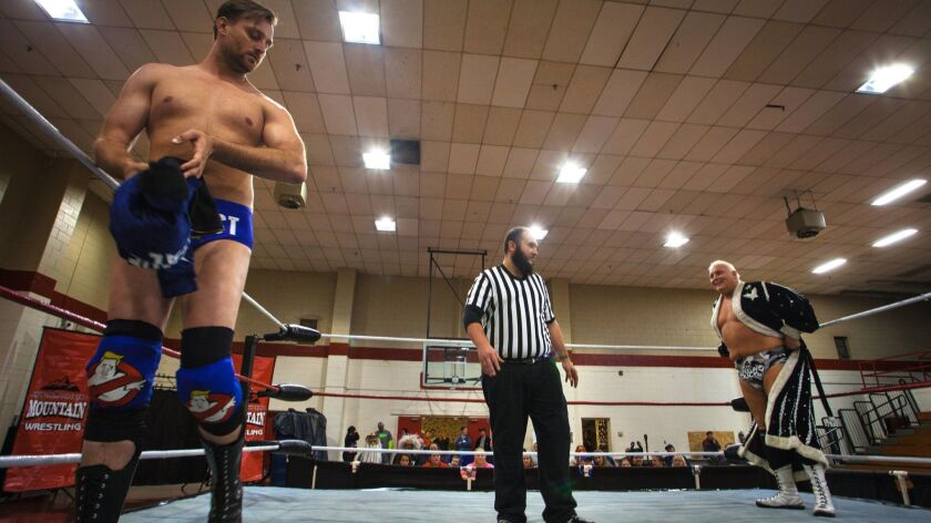 "Dan Richards and ""Pretty Boy"" Stan Lee prepare for their match. Dan Richards, the heel, plays the vi"