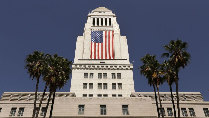 The City Ethics Commission fined a former City Council candidate and his treasurer for using laundered donations and misspending the money. Above, Los Angeles City Hall.