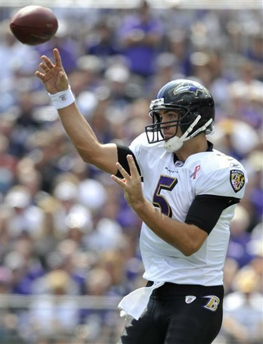 Baltimore Ravens quarterback Joe Flacco throws against the Pittsburgh Steelers in the first half of an NFL football game in Baltimore, Sunday, Sept. 11, 2011. (AP Photo/Gail Burton)