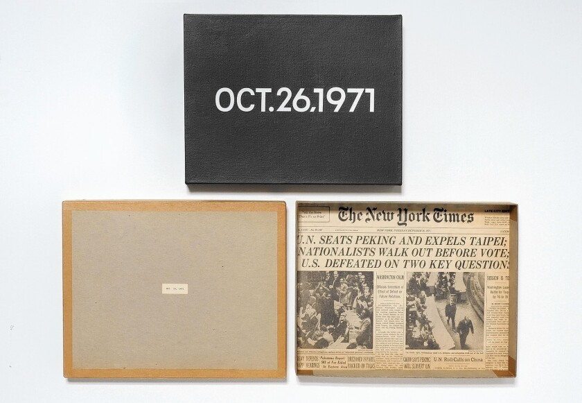 """A sample of On Kawara's work. His """"Today"""" collection impassively documented the dates of each paintings creation."""