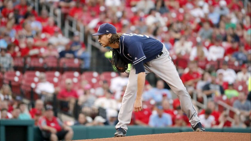 Padres pitcher Matt Strahm looks in for a sign during the first inning of Tuesday's game against the St. Louis Cardinals.