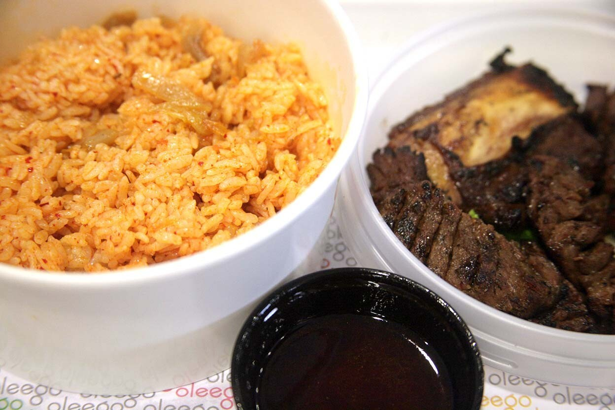 Galbi with kimchi fried rice and a little bit of the spicy soy sauce.