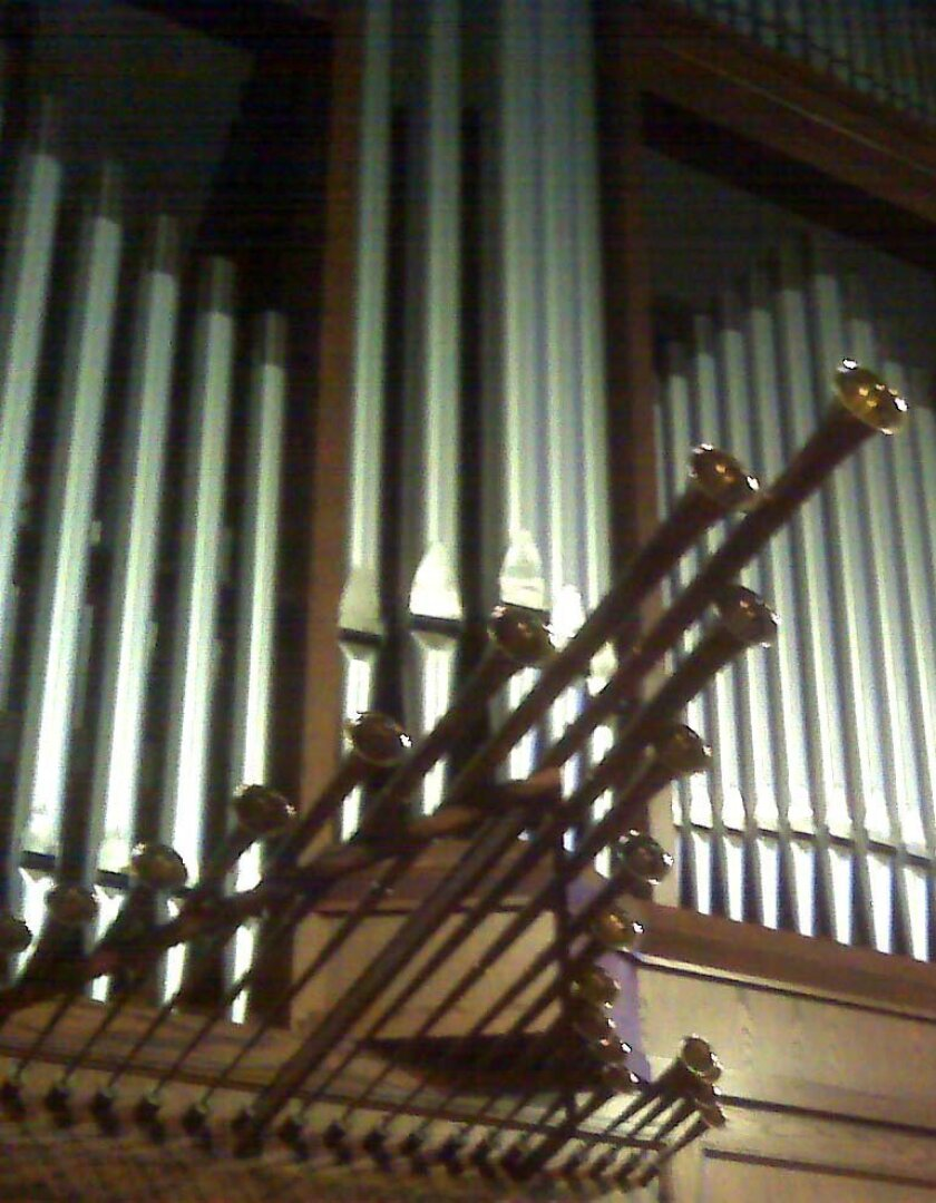 Organ pipes at St. Paul Cathedral in downtown San Diego.