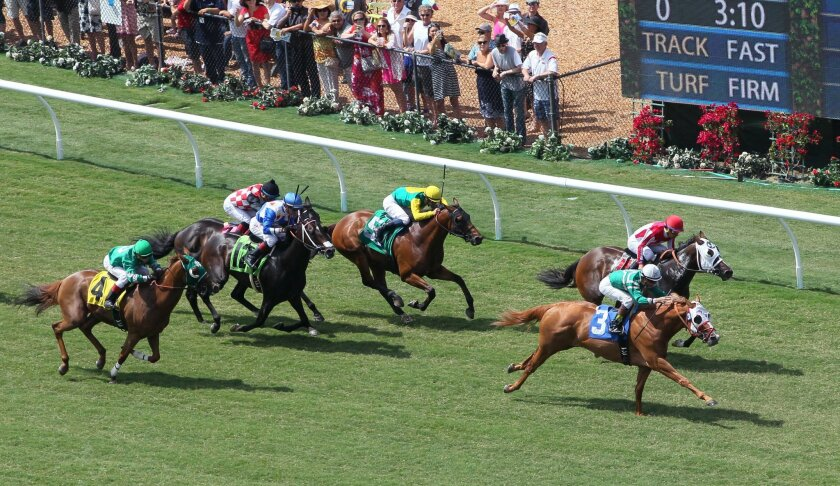 Rye, the #3 horse, with jockey Kent Desormeau, is just ahead of Lindante as they approach the finish of the third race on the track's turf course. Rye won it, LIndante was 2nd.