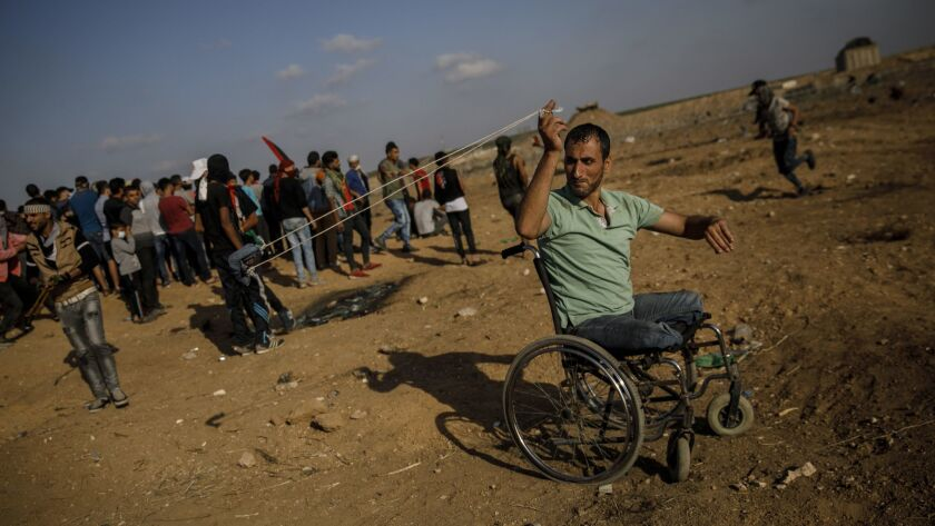 GAZA CITY, GAZA STRIP -- FRIDAY, MAY 11, 2018: Sabir Al-Ashqar, who lost his legs in the 2008-2009 G