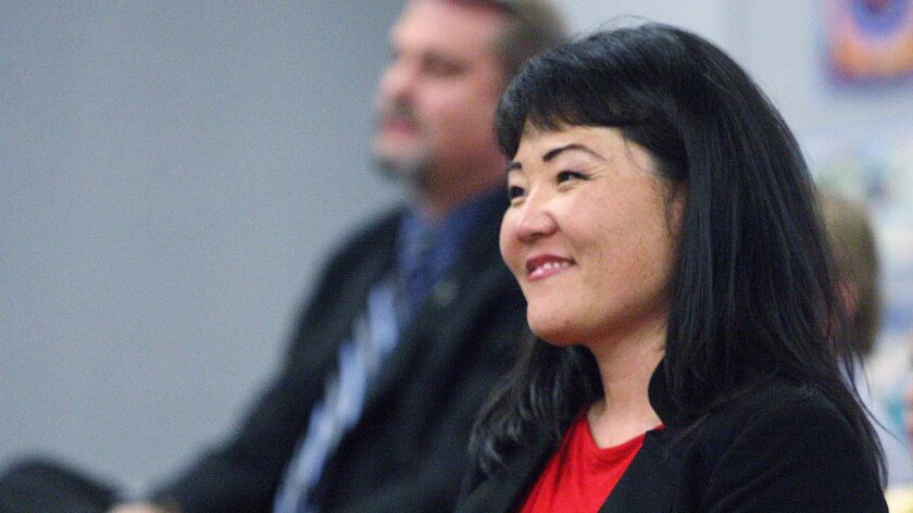 Kip Glazer smiles as she is approved as the assistant principal of discipline, athletics and activities at La Cañada High School by the school board on Tuesday, July 18, 2017.