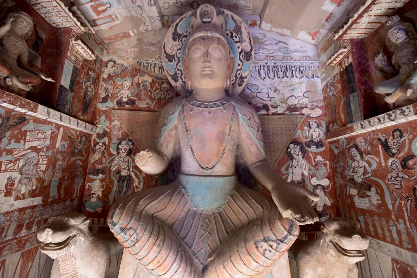 """The bodhisattva Maitreya in the Getty's """"Cave Temples of Dunhuang"""" exhibition."""